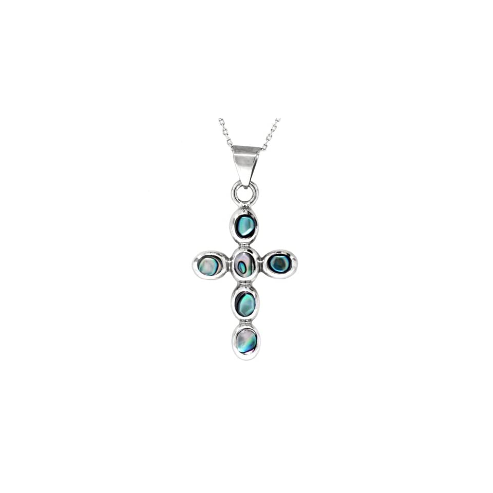 Sterling Silver Abalone Inlay Cross Pendant Necklace , 18