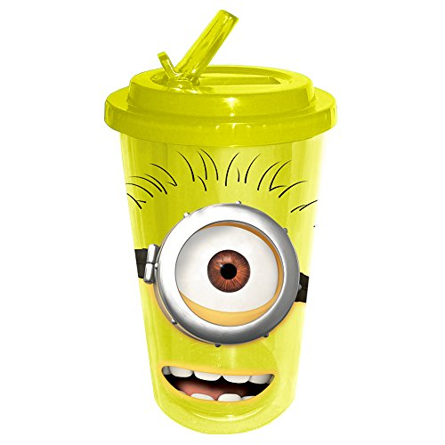 Silver Buffalo DM2284 Despicable Me One-Eyed Happy Minion Flip Straw Cold Cup, 16-Ounce, Yellow