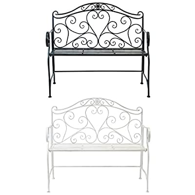 Bentley Garden Heart-Shaped 2 Seater Wrought Iron Ornamented Bench Metal Outdoor Seat - Distressed White / Antique Black
