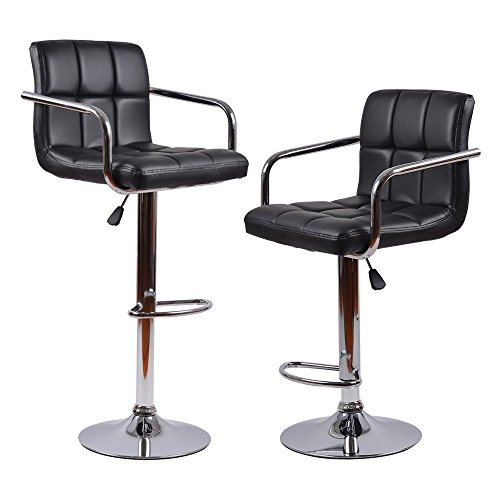 Homall Modern PU Leather Swivel Adjustable Barstools With Armrest,Synthetic Leather Hydraulic Counter Stools (Black Set of 2) Leather Adjustable Arms