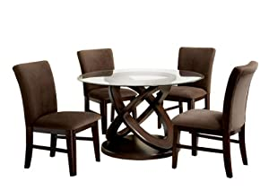 Cheap Low Furniture Of America Ottine Round 5 Piece Dining Table Set With 8mm Tempered Glass Top Dark Walnut Finish Newglass Table Top Square