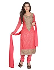 SHIVAM SAREES Pink Semi Stiched Salwar Suits