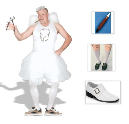 Tooth Fairy Plus Adult Costume (50-52), Colonial Socks, Jumbo Cigar, Shoes (S)