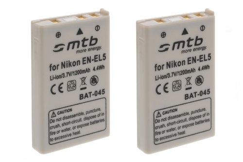 Lot de 2 batteries EN-EL5 pour Nikon Coolpix P80, P90, P100, P500, P510, P5000...