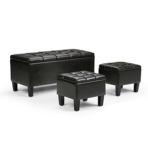 Simpli Home Dover 3-Piece PU Leather Rectangular Storage Ottomans, Espresso Brown (Dark Espresso Ottoman compare prices)