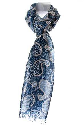 Paisley Print 100% Pure Quality Silk Scarf Wrap - Exclusive.