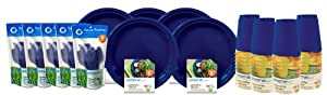 Preserve 120-Piece On the Go Tableware Set, Blue by Recycline, Inc