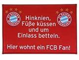 "FC Bayern Fußmatte "" Hier wohnt ein FCB Fan ! "" OVP Fußball Fan Fussmatte"
