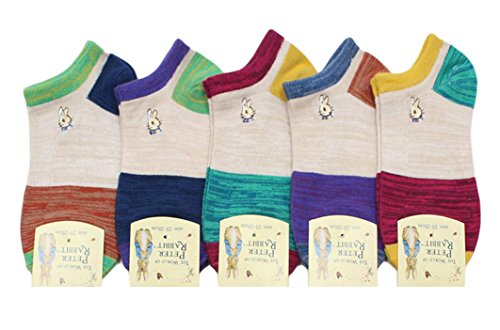 KINGDESON Women's Five-Pack Summer Cute Rabbits Cotton Ankle Socks Low-Cut Socks
