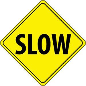 "NMC TM120J Diamond Shape Traffic Sign, ""SLOW"", 24"" Width x ..."