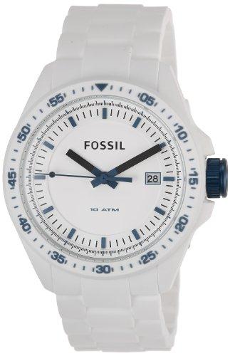 Fossil Men's Decker AM4502 White Silicone Quartz Watch with White Dial
