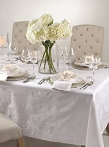 Fennco Classic Rose Damask Elegant Tablecloth. White Color. 100% Cotton. Various Sizes Available.