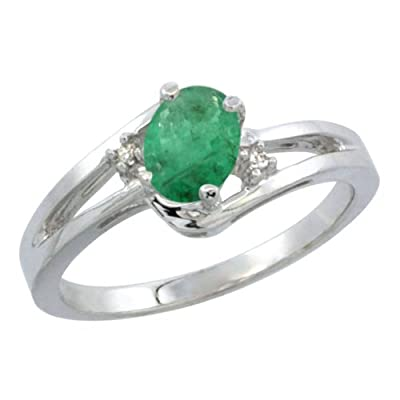 Revoni, 14ct White Gold, Emerald and Diamond Ring, Oval stone (6x4 mm)