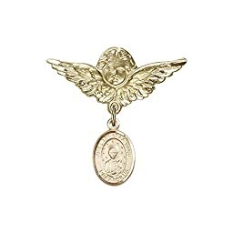 14kt Gold Filled Baby Badge with O/L of la Vang Charm and Angel w/Wings Badge Pin