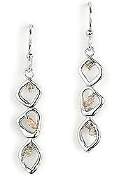 Jody Coyote Earrings Geode Collection Geo-0113-08 Cz Cubic Zirconia Silver