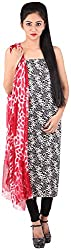 Bee Gee Boutique Women's Synthetic Unstitched Dress Materials (BG-15, Black, White & Red)