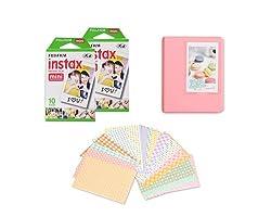 Fujifilm Bundle Set 20 Sheets Fujifilm Instax Polaroid Mini Films, Candy Colorful PU Leather Photo Album/20 Pcs DIY Photo Stickers for Fujifilm Instax Mini 8, Instant Mini 7S, Instax Mini 25, Instant Mini 50S, Instax Mini 90 Films - Pink