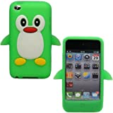 Sleek Gadgets - Green White Cute Penguin Design Case Cover Shell for Apple iPod Touch 4th Generation, 4G, 8gb, 16gb, 32gb with Facetime Camera