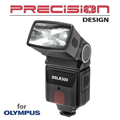 Precision Design DSLR300 Universal High Power Auto Flash with Zoom/Bounce/Swivel Head for Olympus E-5, E-30, E-3, Evolt E-420, E-620, Pen E-PL2 Digital SLR Cameras