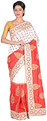 Sree Howrah Stores Women's Art Silk Saree with Blouse Piece (Red)