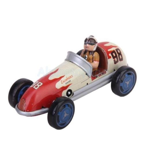 Vintage Retro Style Racing Car Tin Toy w/ Wind-up Key Collectible Adult Toys
