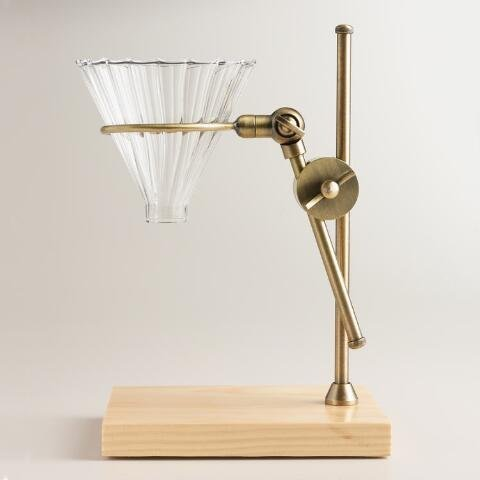 brass-pour-over-drip-coffee-maker-dripper-stand-with-wood-base