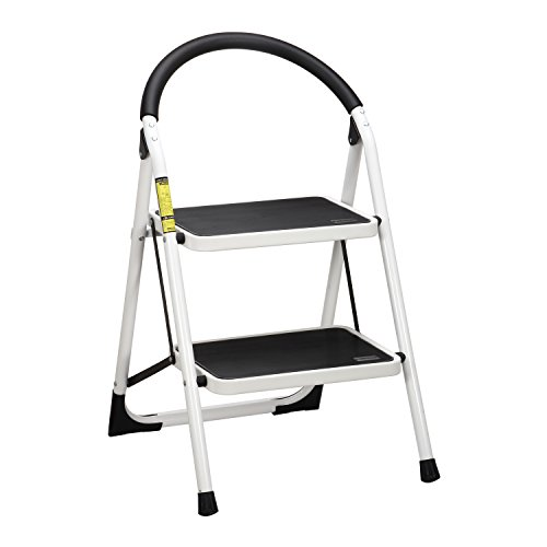 Ollieroo Ladder EN131 Steel Folding 2 Step Stool with Comfy Grip Handle Anti-slip Step Mon-marring Feet 330-pound Capacity White (Folding Chair Replacement Parts compare prices)