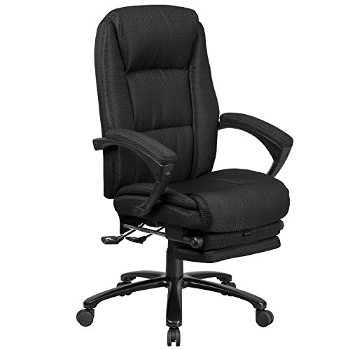 Flash Furniture High Back Black Fabric Executive Reclining Swivel Office Chair with Comfort Coil Seat Springs and Padded Arms