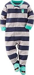 Carters Fleece Baby Pajamas - 1 Piece (18 Month, Blue/Gray Stripe)