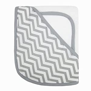American Baby Company 100% Organic Cotton Terry Hooded Towel Set, White with Gray ZigZag
