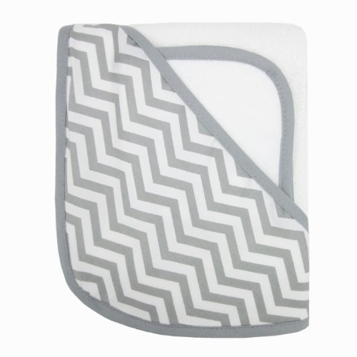 American Baby Company 100% Organic Cotton Terry Hooded Towel Set, White with Gray ZigZag Image