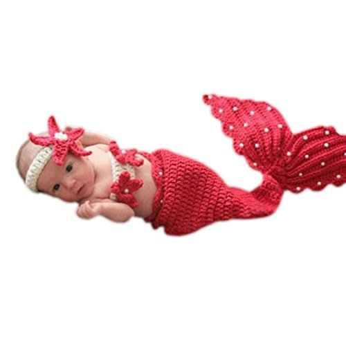 BlueTop(TM) Infant Costume Photography Toddler Mermaid Hat Set Handmade Knit Crochet