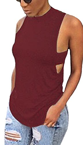 Handu Women's Sleeveless Sexy Halter Backless Tank Tops Blouse Medium Wine Red (Gym Shark Tank Top compare prices)