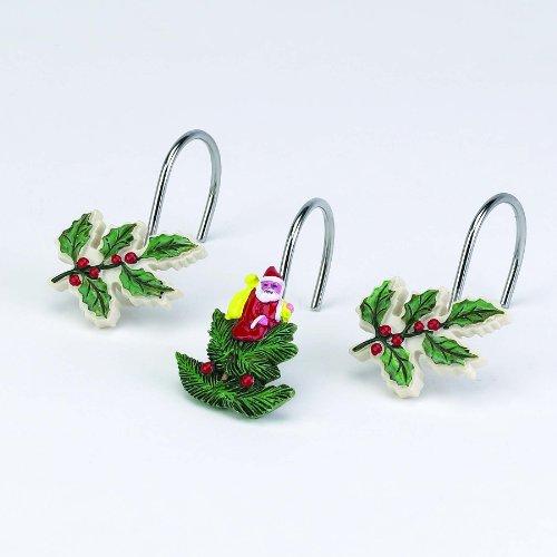 Spode Ceramic Ivory Santa & Mistletoe Shower Curtain Hooks