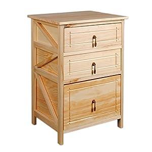 Mobiletto da bagno in legno di paulonia color naturale con 3 cassetti casa e cucina - Mobiletto cucina amazon ...