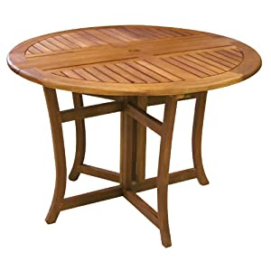 com eucalyptus 43 inch round folding deck table patio lawn garden