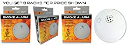 Unicom Smoke Alarm - Loud 85 Db Alarm - Battery Operated - Super Saver Triple Pack by UNICOM