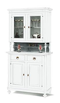 Cristalliera in legno finitura laccato bianco opaco, con 2+2 porte e 2 cassetti