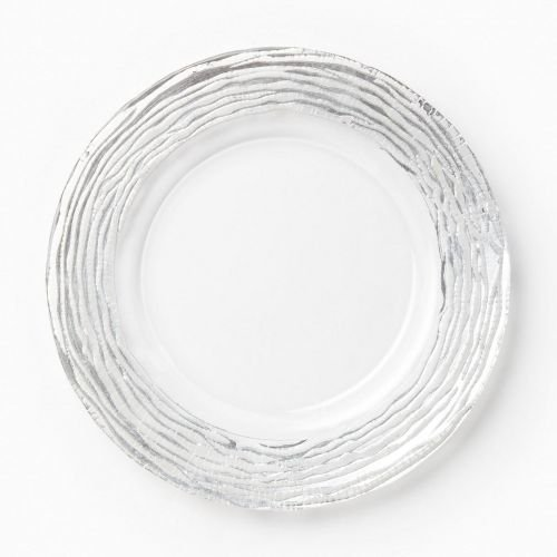 Vietri Ruffle Glass Platinum Stripe Service Plate/charger (Platinum Charger Plates compare prices)