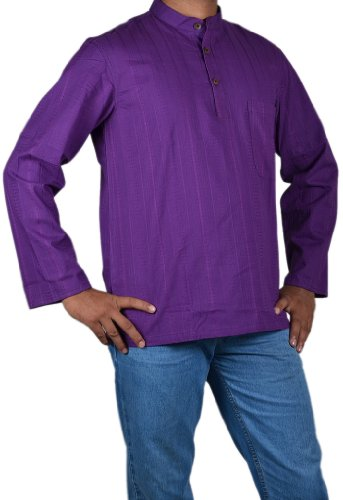 Casual Wear Yoga Short Kurta Made by Cotton Fabric With Long Sleeves & Standing Collar Neckline Size M