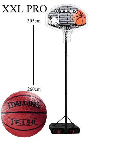 Hudora Basketballständer Pro XXL - Spielhöhe von 260 - 305 cm inklusive Spalding Basketball*
