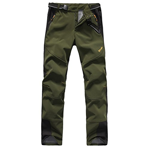 Mens Waterproof Outdoor Softshell Pants ONE SIDE BRUSH Polar Fleece 1501 Army Green Large (Military Rain Pants compare prices)