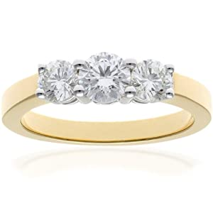 Ariel 18ct Yellow Gold Trilogy Ring, IJ/I Certified Diamonds, Round Brilliant, 1.00ct, Yellow Gold, N