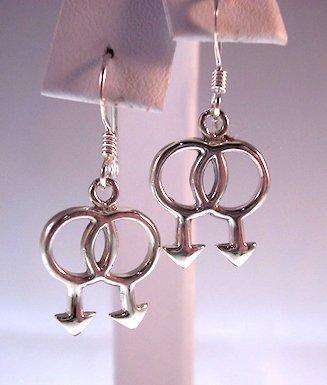 Gay Men Symbols Dangle Earrings 925 Sterling Silver 1/2 Inch Long