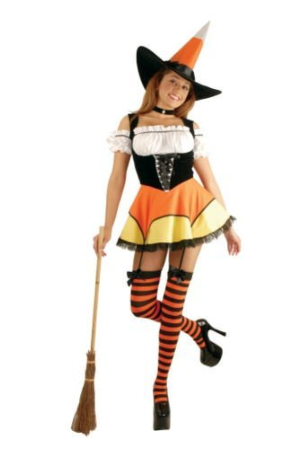 Sassy Candy Corn Witch Costume Wow includes the cool stockings too!