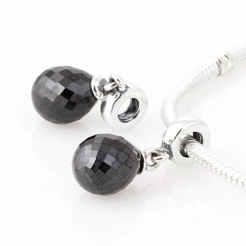 Taotaohas-(1Pc) Oxidized Antique Authentic 100% Solid Sterling 925 Silver Threaded Charm Beads Dangle, [ Name: Faceted Beauty, Stone Color: Jet Black ], With Crystal Czech Rhinestone, Fit European Bracelets Necklaces Chains, Troll, Biagi Glass Charm Beads