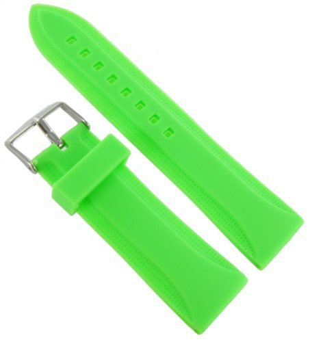 24mm Milano Trendy Silicone Green Waterproof Soft Raised Pattern Replacement Watch Band Strap