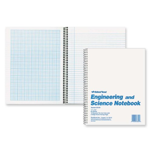 41evNdAAiVL. SL500  National Brand Engineering and Science Notebook, College with Margin and 10 X 10 Quad, White, 11 x 8.5 Inches, 60 Sheets (33610)
