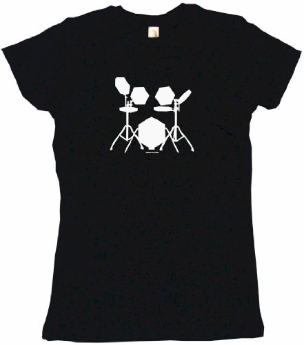 Electronic Drum Set Drummers Logo Women'S Tee Shirt Medium-Black Babydoll