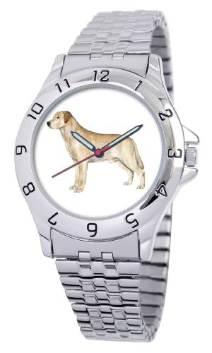 American Kennel Club Men's D1689S243 Yellow Labrador Retriever Silver-Tone Expansion Band Watch
